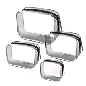 4-in-1 Bolsa de Aseo Transparente, Bolsa de Maquillaje Cosméticos Organizador Impermeable de Viaje, Neceser PVC con…