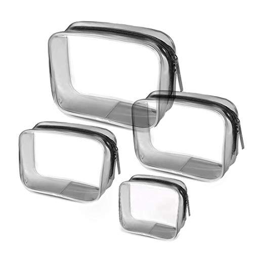 4-in-1 Bolsa de Aseo Transparente, Bolsa de Maquillaje Cosméticos Organizador Impermeable de Viaje, Neceser PVC con Cremallera, Bolsa de Aseo Portátil de Tocador Unisex para Viajes, Multi-tamaños