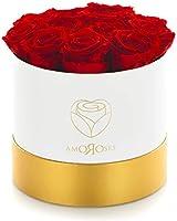 Amoroses 12 Rose Stabilizzate Vere durano Anni - Idea Regalo per Lei Originale Elegante Bouquet per Anniversario e Altre...