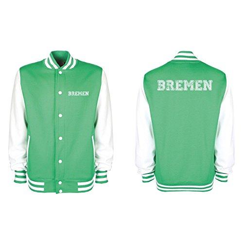 Shirt-Panda College Jacke Bremen Baseball Jacke Damen Herren XS-3XL Kelly Green/White XXL