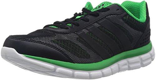 adidas Performance Herren Breeze 202 2 Laufschuhe, Schwarz (Black 1 / Black 1 / Vivid Green S14), 41 1/3 EU