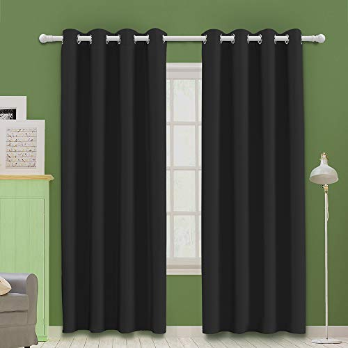 MOOORE Black Bedroom Blackout Curtains, Eyelet Ring Top Thermal Insulated Soft...