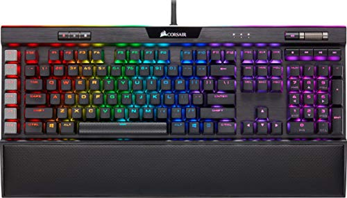 Corsair K95 Platinum XT RGB Mechanical Gaming Keyboard (Cherry MX RGB Speed Keys: Linear and Rapid, Per Key Multi-Colour RGB Backlighting, Detachable Plush Palm Rest, QWERTY UK Layout) - Black