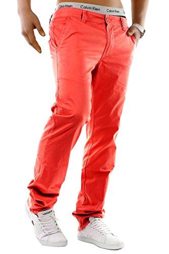 Pantalon Homme Chino Jeans Stretch Slim Fit Basic Fabric Pants, Couleurs:Rose Vif, Taille de Pantalon:W28