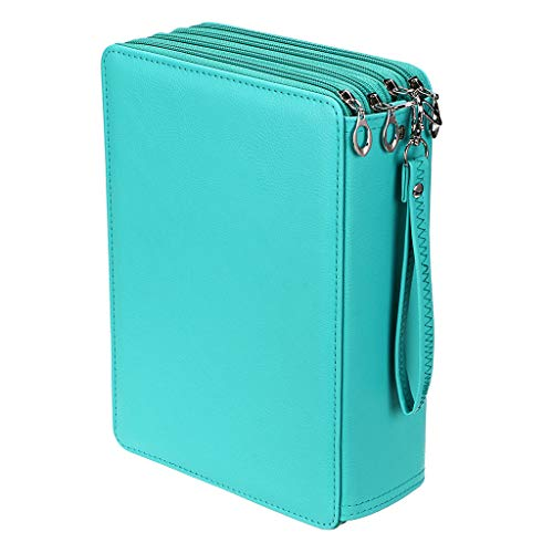BTSKY New Deluxe PU Leather Pencil Case For Colored Pencils - 200 Slots Pencil Holder r With 4 Layers Green
