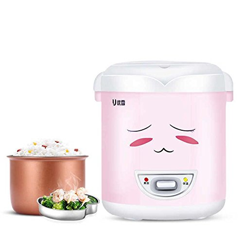 Mini cuiseur à riz (1.0 litre), cuisson, chauffage, chauffage, plat, avec plaque de vapeur, Mini et portable Peut être utilisé comme Boîte à lunch rose