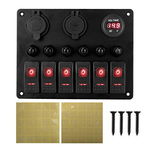 Wishful DC 12V / 24V Ciro DE CUCHO Circuito Marino LED Breaker 6 Panel de interruptores de Rocker de pandillas Panel de voltímetro Digital Dual USB Puertos de Aluminio (Color : Red)