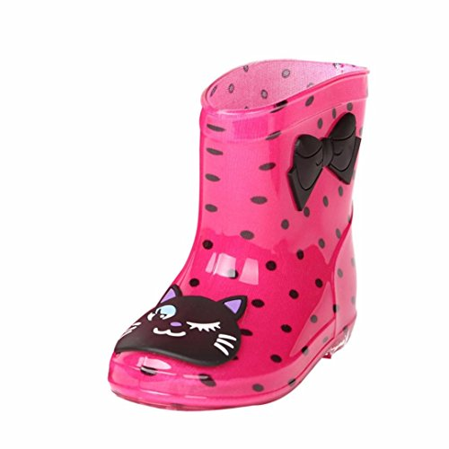 FNKDOR Kinder Gummistiefel Jungen Mädchen Regenstiefel Kurzschaft Waterproof Schuhe (26, Rosa)