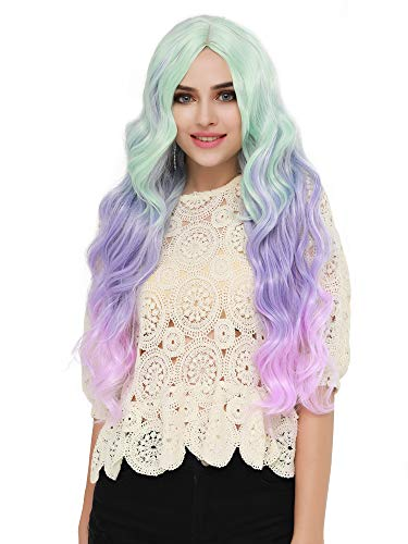 SEIKEA Women Color Wig Long Curly Hair Ombre with Root Girl Cosplay Costume Heat Resistant Synthetic Hairpiece (Puple Green Pink)