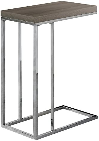 Best Monarch Specialties 3253, Chrome Accent Metal Base C-Table, Dark Taupe
