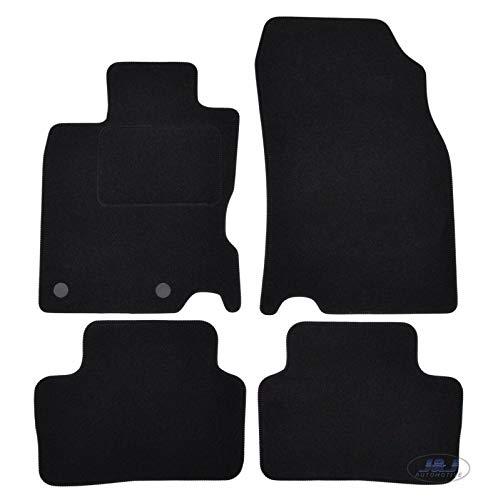 J&J AUTOMOTIVE | Tapis de Sol Noir Velours Compatible avec Nissan Qashqai J11 2014-2021 4 pcs