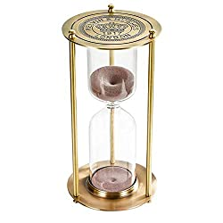Hourglass Sand Timer 15 Minute, Vintage Brass Sand Clock Stand, Unique Reloj De Arena, Metal Sand Watch 15 Min, Antique Hour Glass Sandglass with White Sand for Home, Desk, Office Decoration