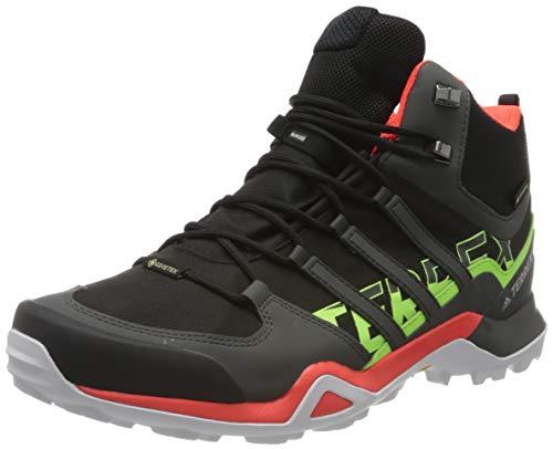 adidas Terrex Swift R2 Mid GTX, Scarpe da Trekking Uomo, Core Black/Solar Red/Signal Green, 45 1/3 EU