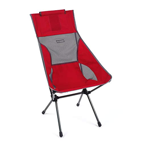 Helinox Sunset - Silla de camping ligera, respaldo alto, compacta, plegable, color escarlata/hierro