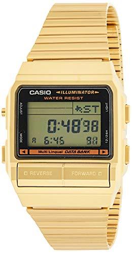 Casio DB380G-1 Reloj de Cuarzo de Acero Inoxidable Dorado para Hombre con Esfera Digital