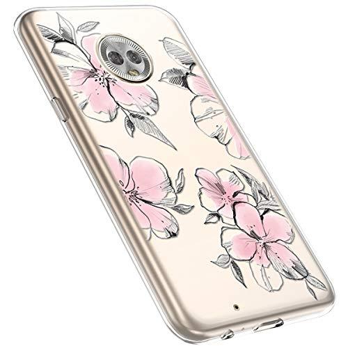 MoreChioce kompatibel mit Motorola G6 Hülle,Motorola G6 Handyhülle Blume,Ultra Dünn Transparent Silikon Schutzhülle Clear Crystal Rückschale Tasche Defender Bumper,Blumenzweig #28