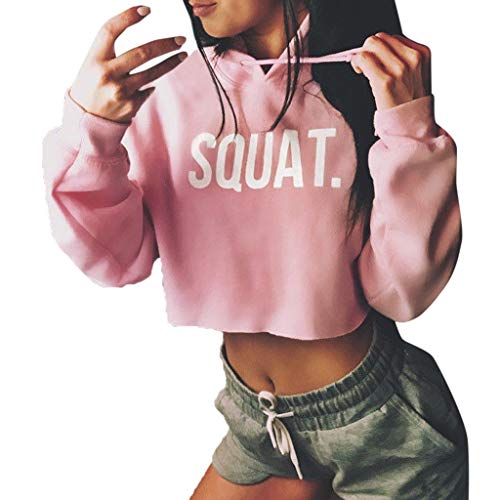 Price comparison product image TWGONE Crop Top Hoodie For Women Fashion Active Long Sleeve Squat Letter Print Loose Hooded T-shirt (Small, Pink)