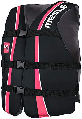 MESLE Universal Schwimmweste Sportsman Adult, Universalgröße 40-70+ kg, 50-N Auftriebsweste Schwimmhilfe Prallschutz, schwarz-pink, für Erwachsene und Jugendliche