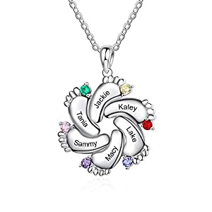 Wendy Made Personalized Necklace for Mother 1-6 Names Custom Baby Feet Pendant Necklace for Mom with Simulated Birthstone Free Engraving Baby Name or Date (6 Names)