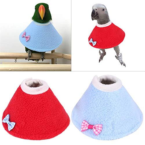 2 Pcs Pet Parrot Anti-bite Collar, Parrot Protection Cone Neck Recovery Collar ,Anti-Grab Feather Lick Wound Healing Safety Practical Neck Cover, for Macaw African Budgies Parakeet (L (7-9cm))