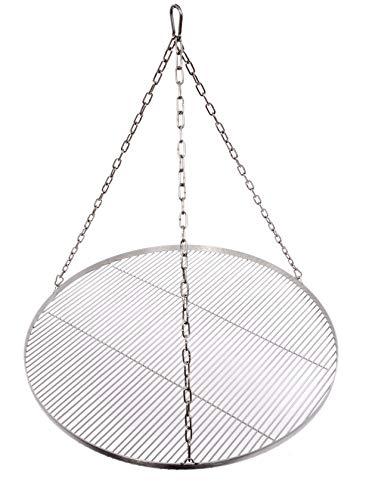 Grillrost Ø 80 cm mit Kette Edelstahl 4 mm Grillstabdicke Stababstand 10 mm für Schwenkgrill BBQ Dreibein