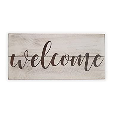 Rustic Engraved Wood Sign - 23  x 10.5  - Welcome - White