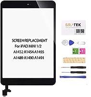 srjtekの交換画面for iPad Mini 1 2 A1432 A1454 A1455 A1489 A1490用のタッチスクリーンデジタイザースクリーン交換部品、ICチップ+ホームボタン+カメラホルダー+修理キット+強化ガラス(ブラック)
