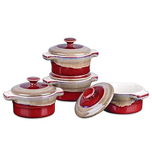 LOVECASA, Mini Cocotte avec Couvercle en Céramique, Ramequin moule à Four , 200ml 4 Pièces 13 cm pour Gâteau, Pâtisserie, Soufflé- Rouge Dégradé-LC-BK-C02-MC