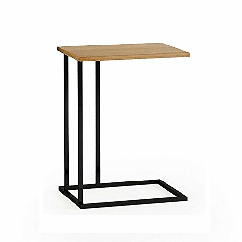 G-VO Sofa Side End Table with Modern C shape Construction Black Steel frame and Natural Wood