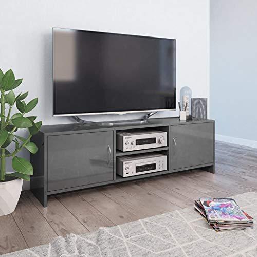 Festnight TV-Schrank Hochglanz-Grau Fernsehtisch TV Möbel Board Tisch Fernsehschrank Sideboard HiFi-Schrank 120 x 30 x 37,5 cm Spanplatte mit 2 Regalen und 2 Türen