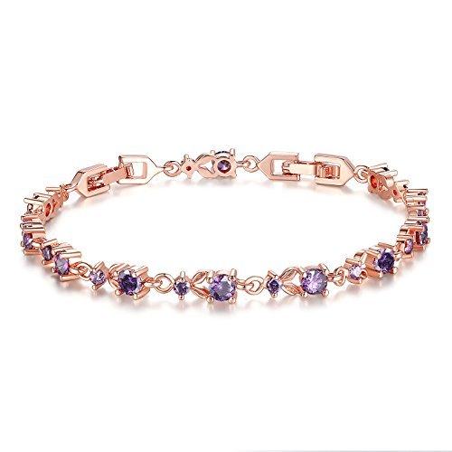 Wostu Donna Bracciale di lusso Snella oro rosa placcato con rosa scintillanti Cubic Zirconia Pietre Rose viola