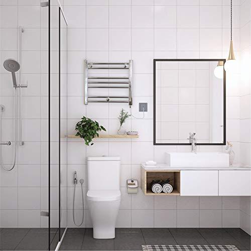 Romano - Toallero eléctrico pequeño doble combustible cromado calefactable (toallero eléctrico precargado 150 W)