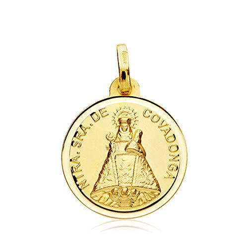 Colgante Medalla Virgen N. Sra. de Covadonga Bisel Oro 18 Kilates 18mm