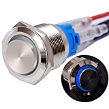 Twidec/19mm Raised Top Latching Push Button Switch 1NO 1NC SPDT Mounting Hole Silver Waterproof Stainless Steel Shell with 12V Led Blue Ring Pre-wiring Wires for car Modification Switch GL19O-T-BU