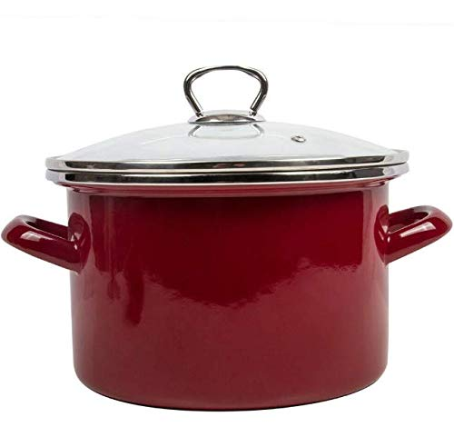 GF Stock Pots Red Color Enameled Cooking Pot with Lid. Durable Enamelware Capacity 5 Qt MG025