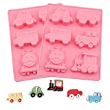 CINDOE Cars/ Train Shape Silicone Soap Molds,Handmade for Cake,Jello,Pudding,Candy,Chocolate,Ice Cube ,Pack of 2( Pink)