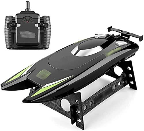 Controles remotos Barco 2.4G Dual Motor 30km / h Barcos de Carreras de Alta Velocidad Remo de Remo Regalo para Adultos para Adultos de Día de los