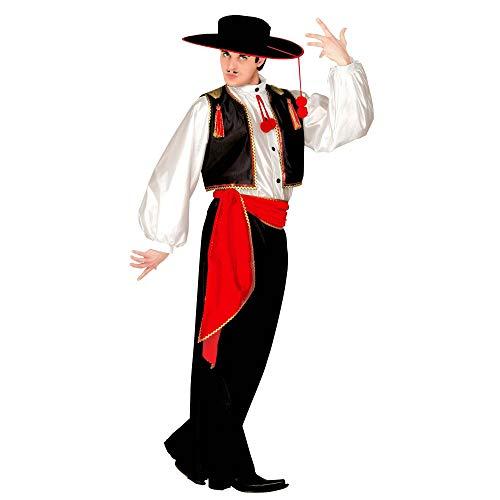 Widmann 44084 44084-Kostüm Joaquin, Hemd, Weste, Hose, Gürtel und Hut, Spanier, Flamenco, Karneval, Mottoparty, Rot/Schwarz/Weiß, XL