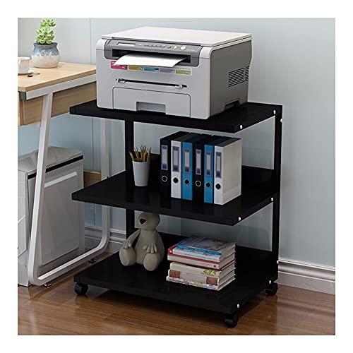 Estante Soporte de impresora de piso de 3 niveles, estante del estante del horno de microondas, estantería de la copiadora de la copiadora de la impresora multifunción del escritorio estante multiusos