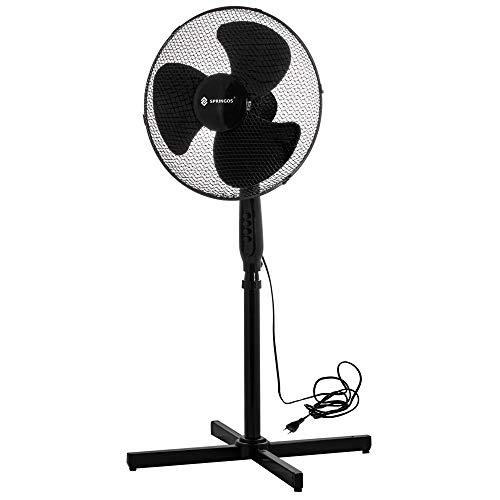 Standventilator, Lüfter Ø 45 cm, mit Oszillation, Luftkühler, Standlüfter Ventilator schwarz weiß Windmaschine Büro & Haus (Schwarz)