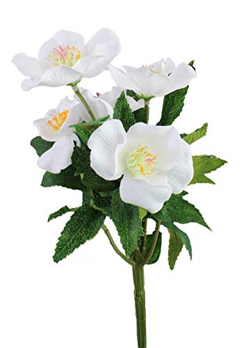 artfleur - 3er Set künstliche Christrose Schneerose Kunstblumen Stielblume Weihnachten