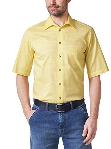 Walbusch Herren Hemd Bügelfrei Tropical einfarbig Gelb 43/44 - Kurzarm