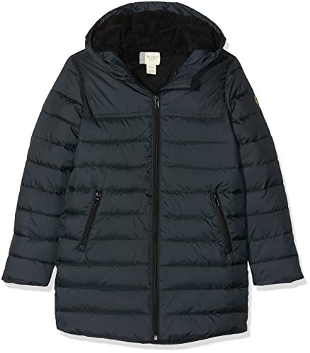 Roxy Waterfall Song-Doudoune à Capuche Longue pour Fille 8-16 Ans, Anthracite, FR : XL (Taille Fabricant : 14)