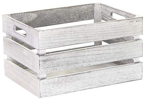 LAUBLUST Vintage Holzkiste mit Griffen - ca. 35 x 25 x 20 cm, Weiß, FSC® - Aufbewahrungskiste | Möbel-Kiste | Dekobox