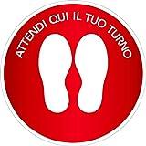 mural stickers Adesivi CALPESTABILI - ASPETTA Qui Il Tuo Turno - Cerchio - PALLINO - Tondo - DISTANZIAMENTO Sociale - Locali - Negozi - ATTIVITA' Commerciali - CERCHIO2 Rosso 5 Pezzi - Diametro 25 CM