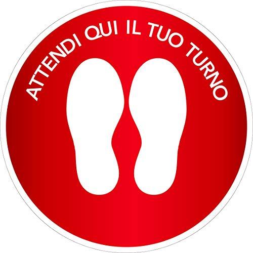 Stickers muraux adhésifs CALPESTABLES - ASPECT Ici Il Tuo Turno - Cercle - BALLINO - Rond - DISTANCE Sociale - Locales - Boutiques - Activité commerciale - Jante 2 rouge 5 pièces - Diamètre 25 cm