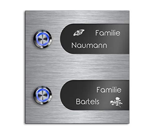 Mehrfamilien Türklingel mit Gravur und 2 LED-Klingelknöpfen 12x13 cm | Modell: Bartels-Aa | gravierte Klingel aus Hochglanz Acrylglas und Edelstahl Klingelschild Klingelplatte