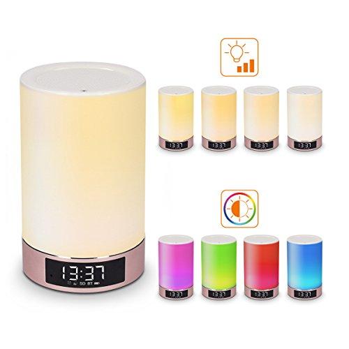 kwmobile altoparlante cassa Bluetooth lampada LED - luce d'atmosfera con funzione sveglia orologio supporto scheda SD illuminazione cambia colore oro