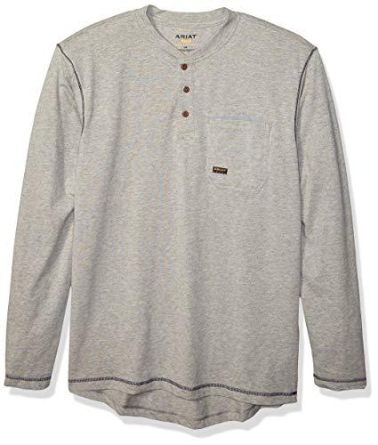 ARIAT Men's Big and Tall Rebar Pocket Long Sleeve Henley Shirt, Heather Gray, XXX-Larger