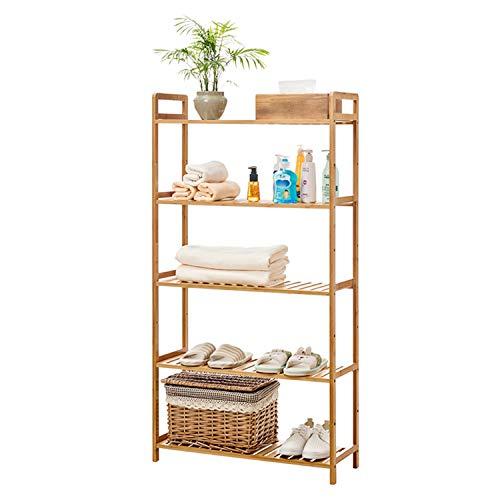 wolketon Badregal 5 Böden Standregal Holzregal aus Bambus,127x52x26cm Küchenregal Pflanzregal Schuhregal für Bad, Küche, Wohnzimmer,Flur, Sauna,Balkon